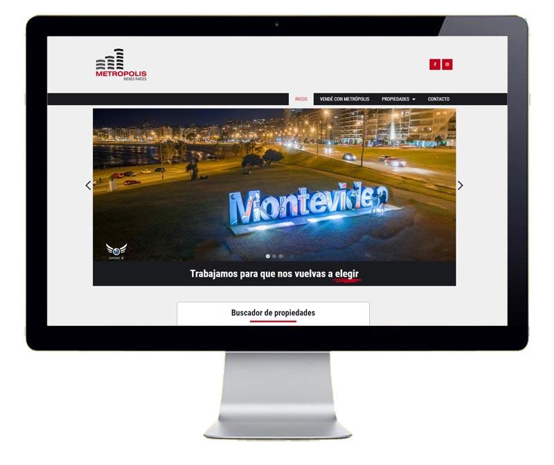 Pantallazo pagina web Metropolis Bienes Raices